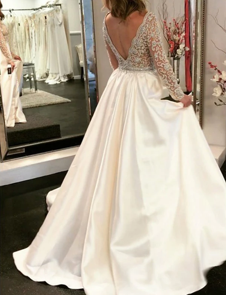White Long Prom Dresses V Neck Appliques Evening Dresses with Sleeve,AE516
