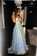 Blue tulle lace long prom dress, blue tulle formal dress,AE520