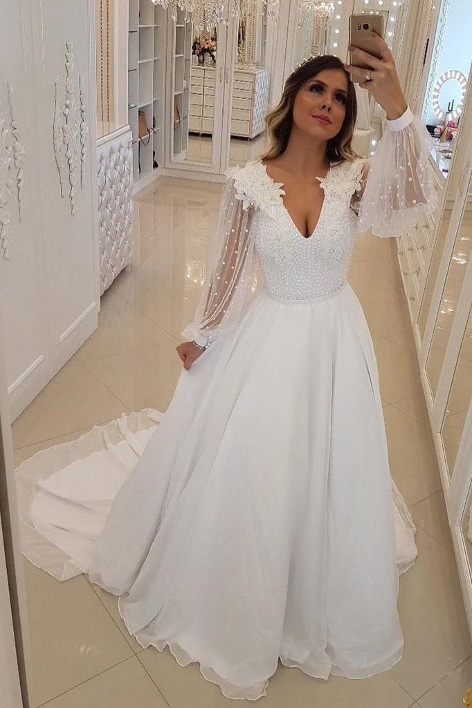 A Line Long Sleeves V Neck Long Prom Dresses, White Beach Wedding Dress with Beading ,AE543