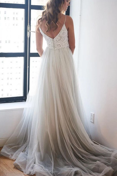 Spaghetti Strap Beach Wedding Dress, V Neck Tulle Long Prom Dress with Lace,AE544
