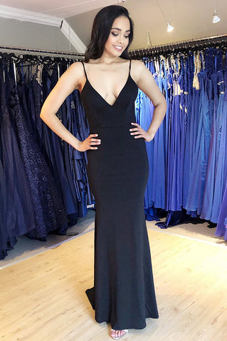 Sheath Black Evening Dress with Open Back,AE931