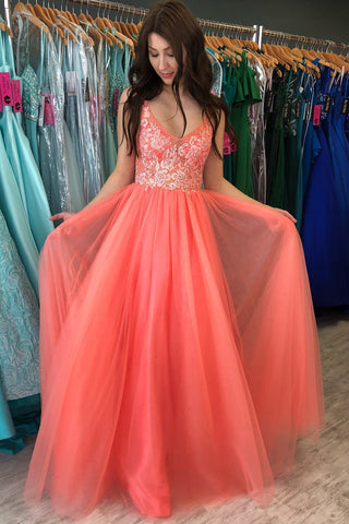 Princess Tulle Long Prom Dress with Appliques,AE940