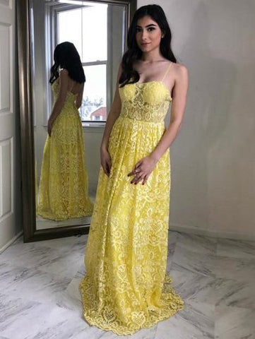 A-line Spaghetti Straps Yellow Lace Long Prom Dresses Party Dresses,AE947