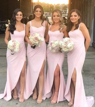 ELEGANT MERMAID PINK LONG BRIDESMAID DRESS WITH SLIT,AE949