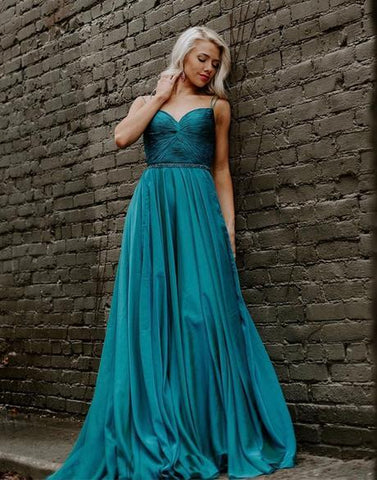 SIMPLE GREEN SWEETHEART CHIFFON LONG PROM DRESS GREEN EVENING DRESS,AE952