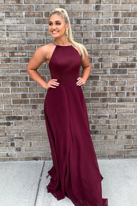 A-Line Burgundy Long Bridesmaid Dress with Tie Back,AE981