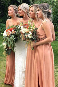 Coral Chiffon Floor Length Bridesmaid Dress,AE983