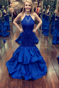 Royal Blue Halter Lace Appliques Prom Dresses Mermaid Evening Dresses,AP006
