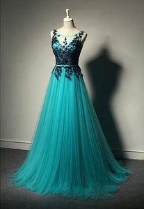 Sleeveless Lace Appliques Prom Dresses Backless Long Evening Dresses,AP008