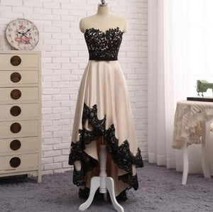 Black Lace Appliques Sleeveless Prom Dresses High Low Evening Dresses,AP009