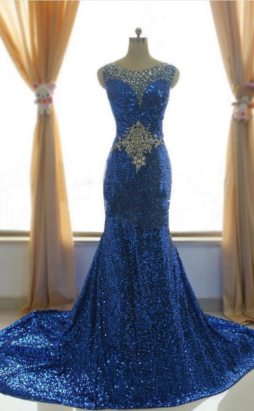 Royal Blue Sleeveless Mermaid Sequin Long Prom Dresses With Crystals,AP011