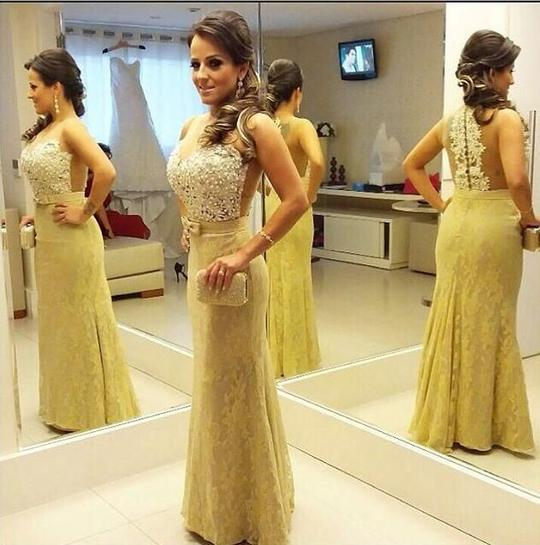 Yellow Sleeveless Lace Appliques Prom Dresses Long Evening Dresses,AP014