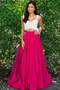 Two Pieces Sleeveless Backless Prom Dresses A Line Long Evening Dresses,AP019