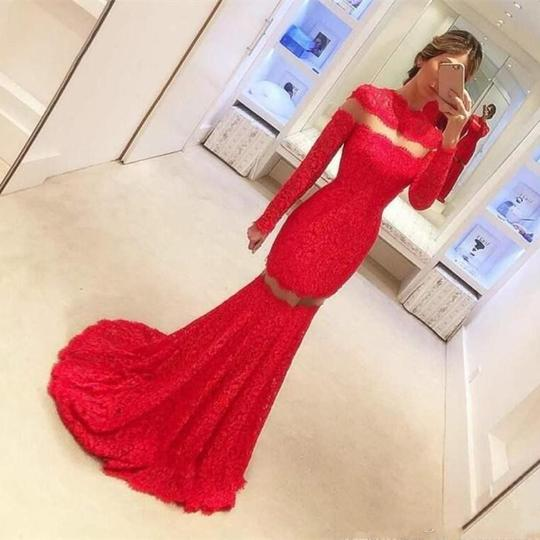 Red High Neck Long Sleeve Lace Prom Dresses Mermaid Evening Dresses,AP021