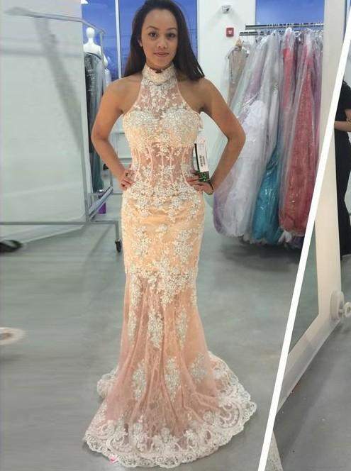Lace Appliques Open Back Prom Dresses Sleeveless Mermaid Evening Dresses,AP024