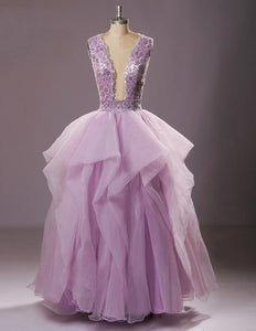Sexy Purple Sleeveless Ruffles Tulle Prom Dresses Open Back Ball Gown,AP030