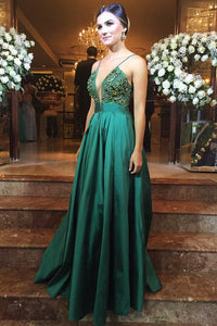 Emerald Green Spaghetti Straps Sleeveless A Line Long Prom Dresses With Beading,AP032
