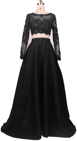 Black Two Piece Long Sleeve Prom Dresses Lace Beaded Evening Dresses,AP040