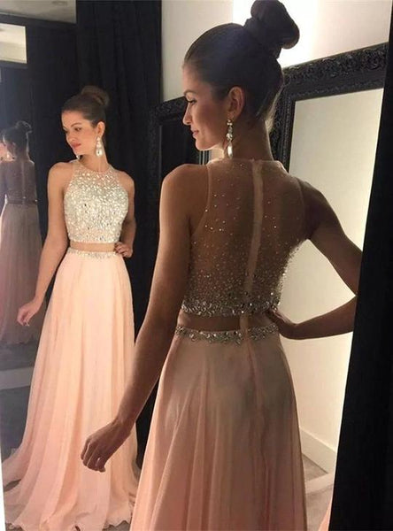 Pink Two Pieces Sleeveless Chiffon Prom Dresses Beaded Evening Dresses,AP051