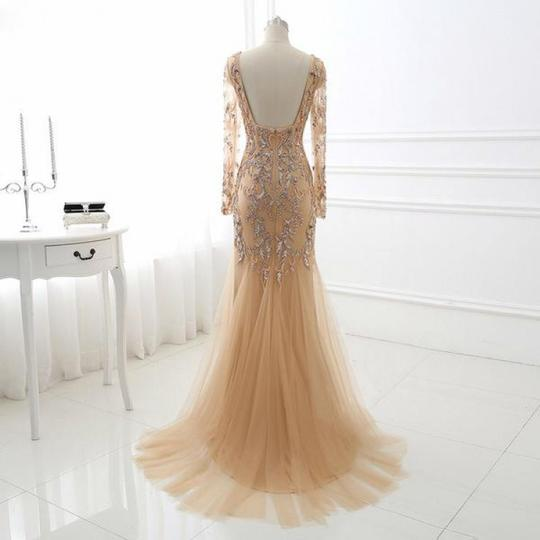 Champagne Long Sleeve Lace Appliques Prom Dresses Backless Evening Dresses,AP055