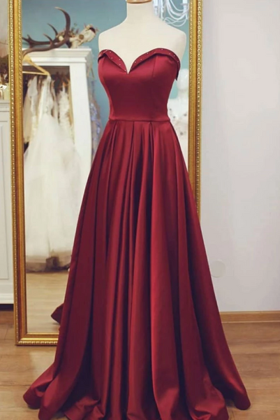 Burgundy Sweetheart A Line Long Prom Dresses Strapless Evening Dresses,AP065