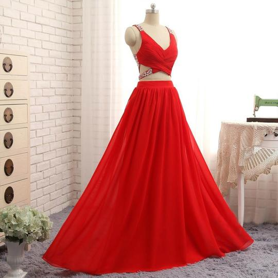 Red Two Pieces V Neck Backless Chiffon Long Prom Dresses With Crystals,AP066