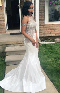 White Halter Open Back Beaded Prom Dresses Mermaid Evening Dresses,AP068