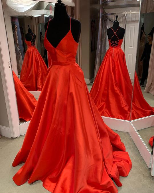 Red Halter Cross Back Long Prom Dresses A Line Satin Evening Dresses,AP074