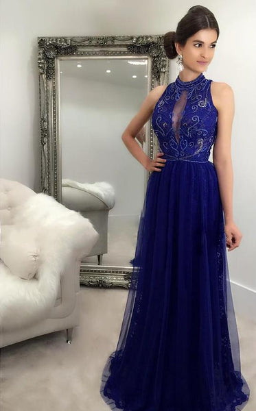 Blue Sleeveless High Neck Lace Beaded Prom Dresses Long Evening Dresses,AP075