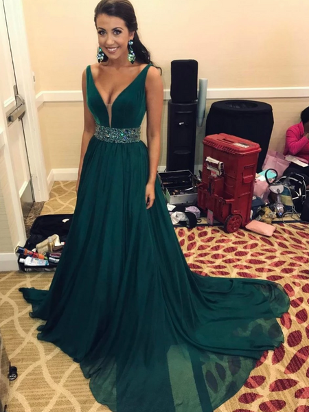 Emerald Green V Neck Sleeveless Beaded Prom Dresses Long Evening Dresses,AP076
