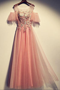 Pink Lace Applique Long Prom Dresses Short Sleeve Evening Dresses,AP081