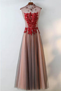 Sleeveless Open Back Beaded Prom Dresses Lace Applique Evening Dresses,AP089