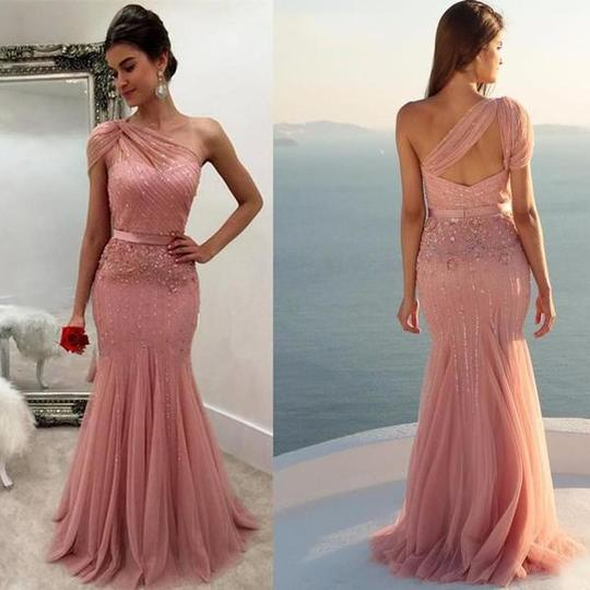 One Shoulder Sleeveless Beaded Prom Dresses Mermaid Evening Dresses,AP095