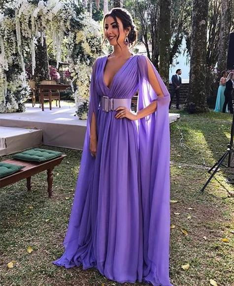 Deep V Neck Long Sleeve A Line Prom Dresses Chiffon Evening Dresses,AP098