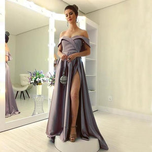 Sexy Off Shoulder Backless Prom Dresses Side Slit Evening Dresses,AP100