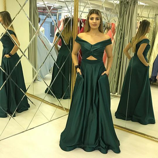 Emerald Green Off Shoulder A Line Prom Dresses Sleeveless Evening Dresses,AP105