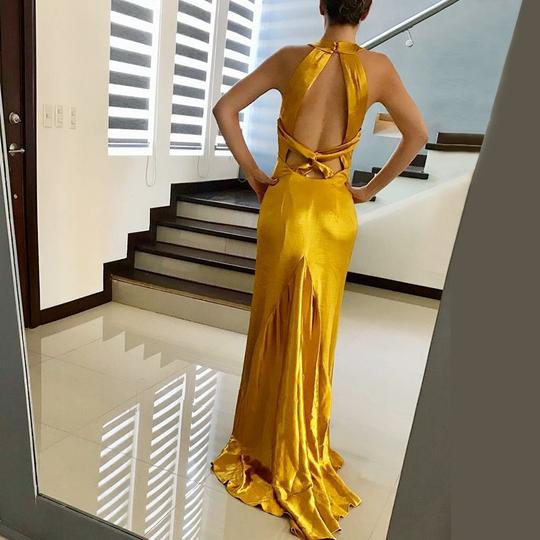 Yellow Sleeveless Backless Mermaid Prom Dresses Satin Evening Dresses,AP108