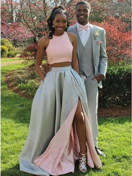 Two Piece Sleeveless Side Slit Long Prom Dresses Satin Evening Dresses,AP120