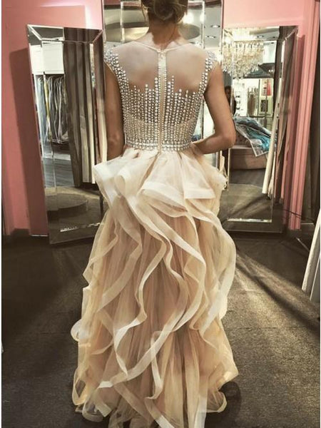 Champagne Sleeveless Beaded Ruffles A Line Tulle Long Prom Dresses,AP121