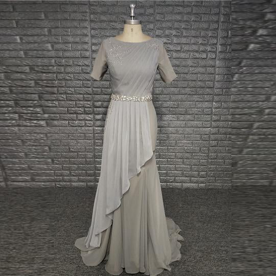 Grey Round Neck Short Sleeve Chiffon Prom Dresses With Crystals Sash,AP123