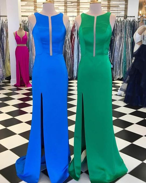 Blue/Green Sleeveless Side Slit Long Prom Dresses Satin Evening Dresses,AP130