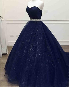 Sparkle Navy Blue Sweetheart A Line Tulle Prom Dresses With Beading Belt,AP132