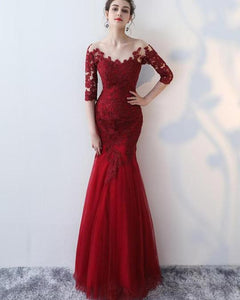 Burgundy Half Sleeve Mermaid Prom Dresses Lace Applique Evening Dresses,AP133