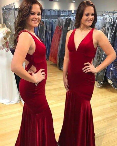 Burgundy V Neck Backless Mermaid Prom Dresses Sleeveless Evening Dresses,AP140