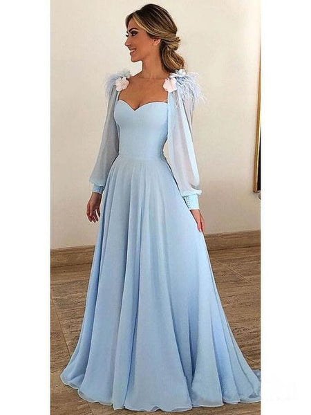 Blue Long Sleeve Sweetheart Prom Dresses A Line Chiffon Evening Dresses,AP141