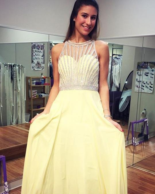 Yellow Sleeveless Backless A Line Floor Length Prom Dresses With Beaded,AP144