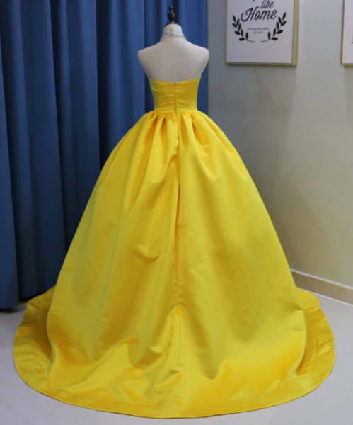 Yellow Halter Sleeveless Backless A Line Satin Prom Dresses With Beaded,AP167