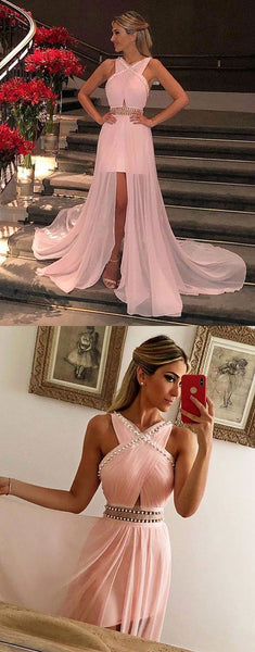 Pink Cross Neck Sleeveless Chiffon Prom Dresses Beaded Evening Dresses,AP151