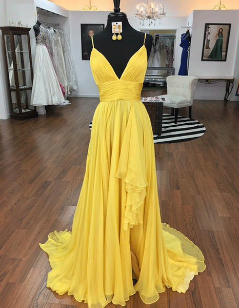 Simple Yellow V Neck Sleeveless Chiffon Prom Dresses A Line Evening Dresses,AP152