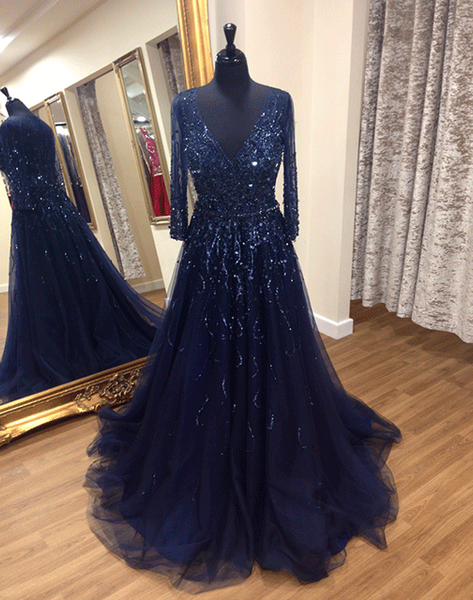 Navy Blue V Neck Long Sleeve A Line Tulle Prom Dresses With Sequin,AP153